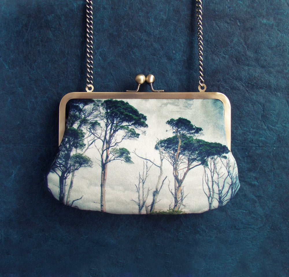 Image of Pine trees velvet clutch bag with chain handle