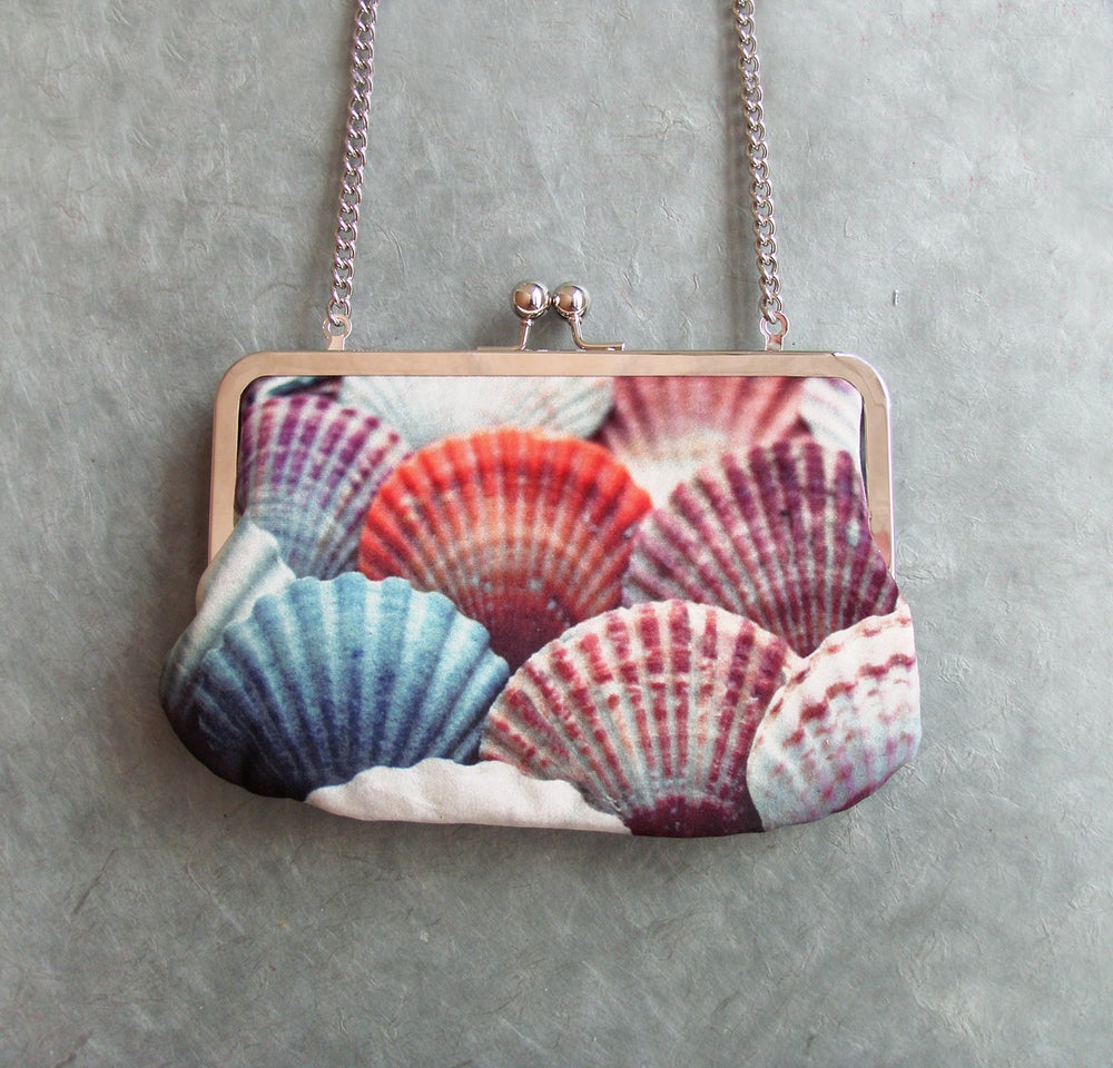 Image of Seashells velvet clutch bag with chain handle