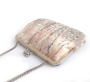 Image of Pussy willow, velvet clutch bag with chain handle