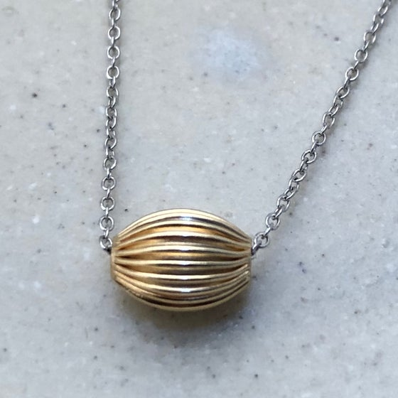 Image of Mixed Metal Ribbed Bead Slide Necklace
