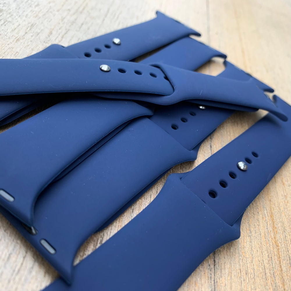 Image of Navy blue Silicone Apple watch Band