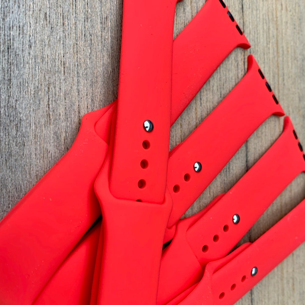 Image of Red Silicone Apple Watch Band