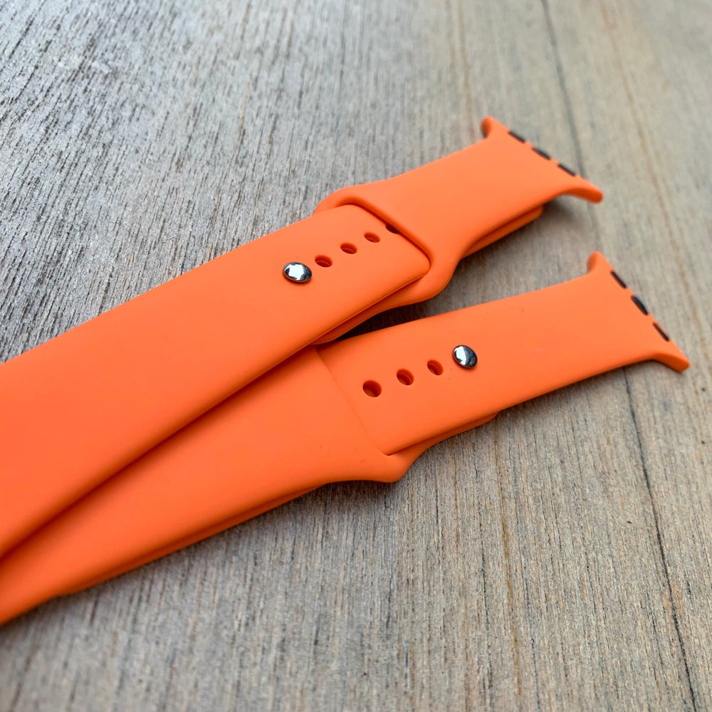 Image of Orange Silicone Apple Watch Band