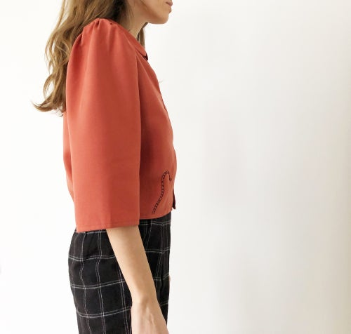 Image of Pre-order:Arinna shirt in terracotta 100%organic tencel handmade in Berlin,hand embroidered in Paris