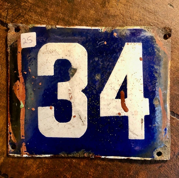 Image of 1950's Salvaged French Enamel Number Plates: click through for other numbers