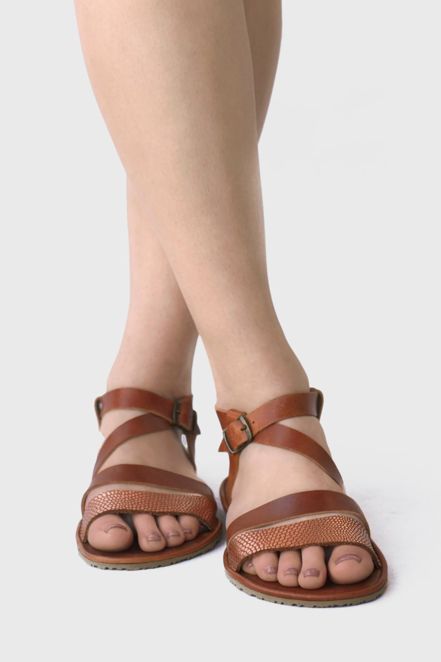 Image of Safita -  Sandals in Tobacco brown/bronze Metallic