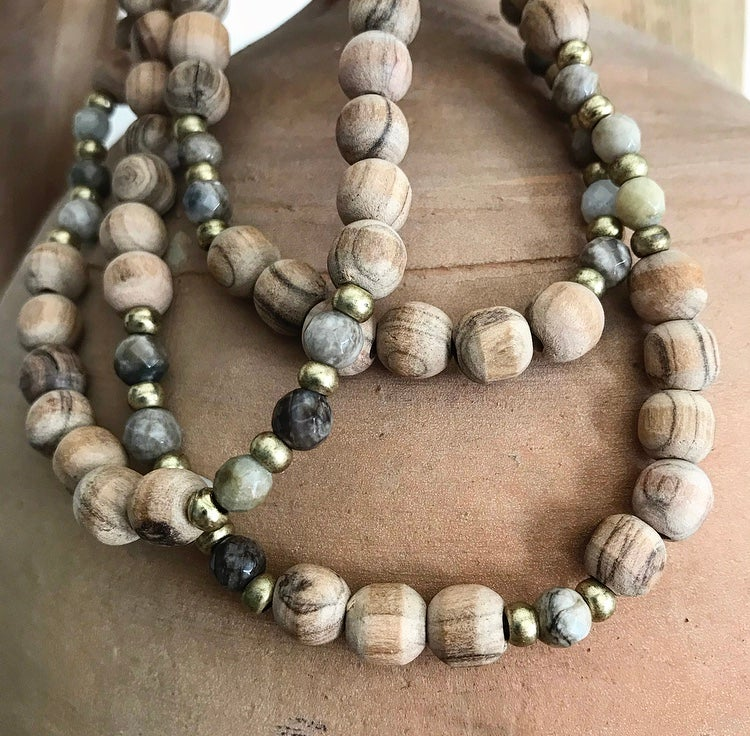 Image of Love Bead Necklace #103 - Olive Wood Beads & Gemstones