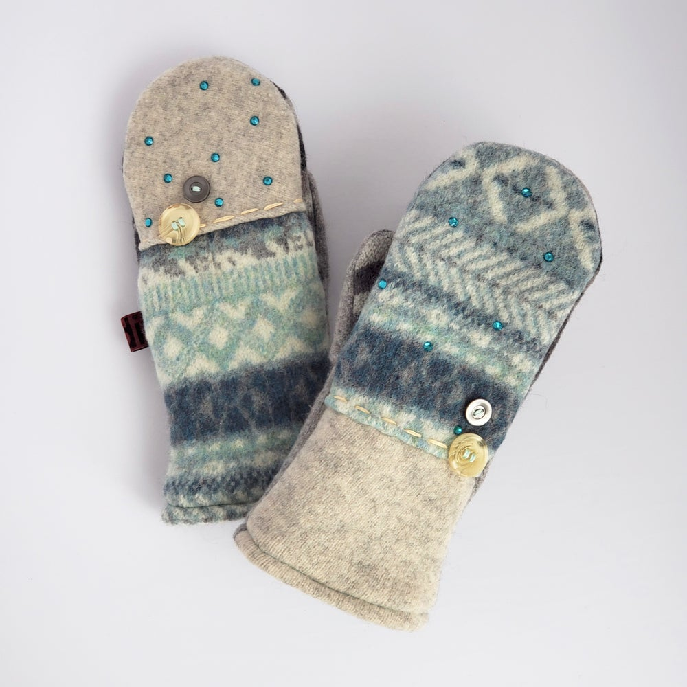 Image of 2020 Edit Repurposed Wool Sweater Mittens Vintage Button & Bling