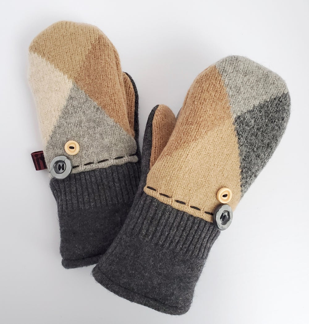 Image of 2020 Edit Repurposed Wool Sweater Mittens- Tan Mix