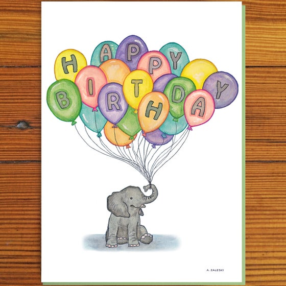 Image of Baby Elephant and Balloons Birthday Card