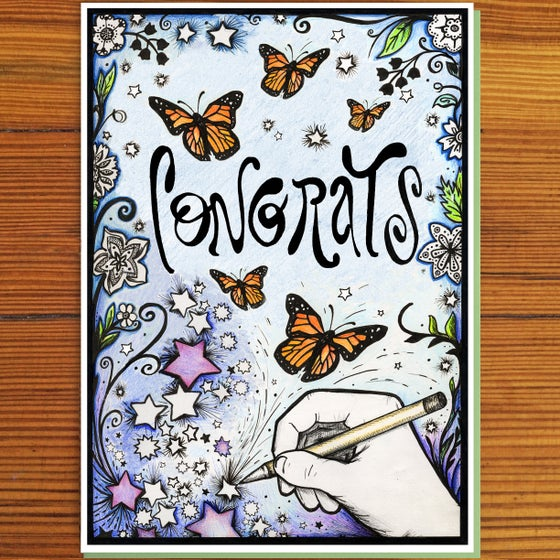 """Image of Butterflies """"Congrats"""" Greeting Card"""