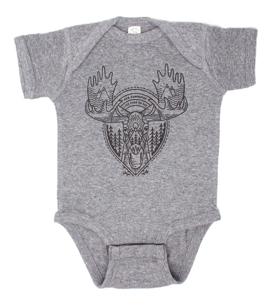 Image of Tribal Moose Onesie- Granite Heather