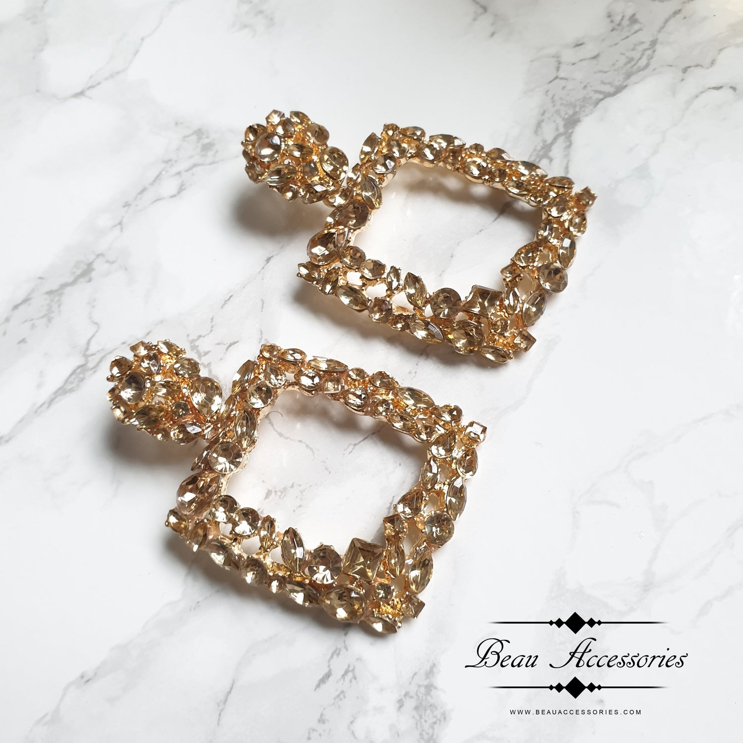 Image of Champagne Gold Statement Crystal Earrings