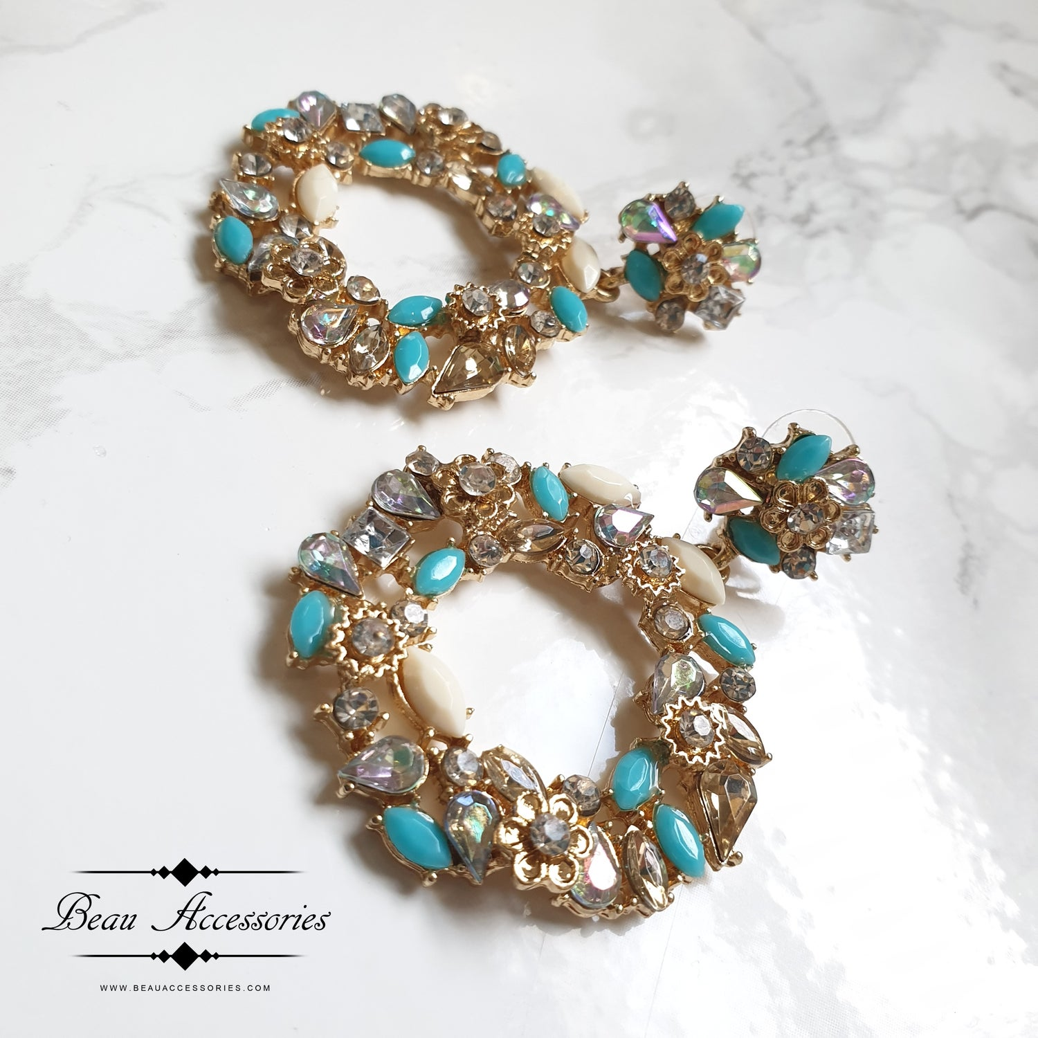 Image of Golden Turquoise Statement Earrings