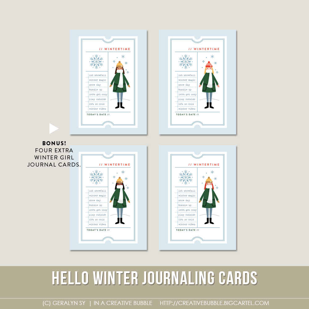 Image of Hello Winter Journaling Cards (Digital)