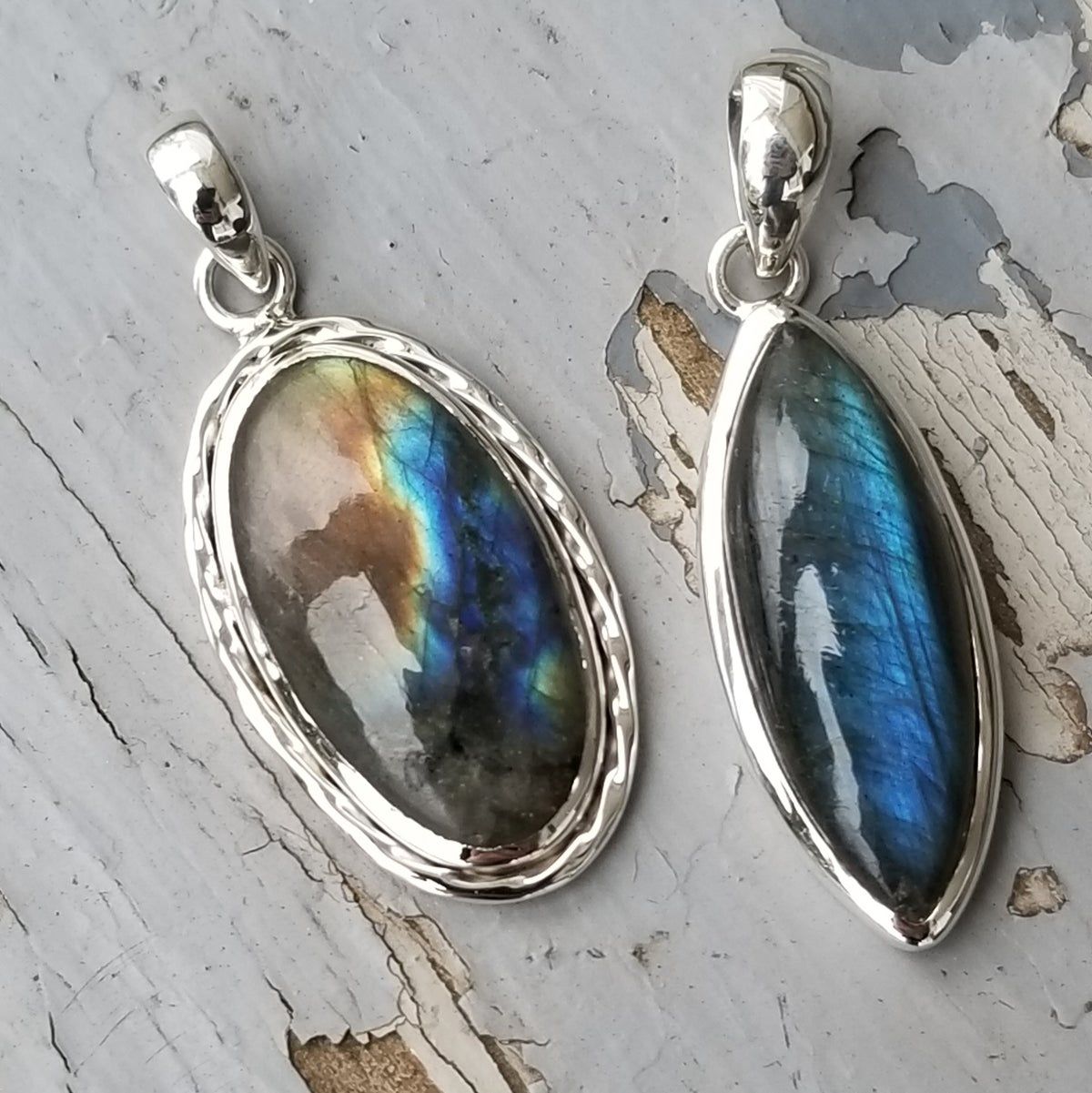 Image of Aurora Pendant Collection - Labradorite in Sterling