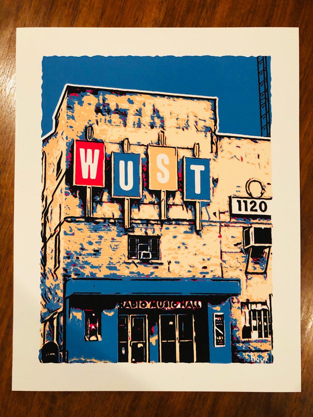 "WUST Radio Music Hall Silk Screened Art Print - 11"" x 14"""