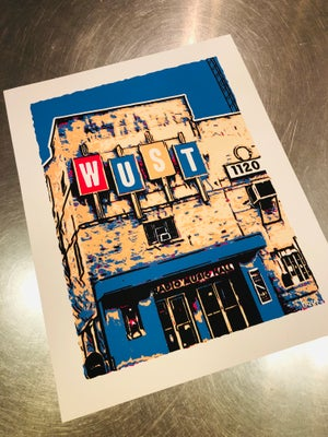 "Image of WUST Radio Music Hall Silk Screened Art Print - 11"" x 14"""