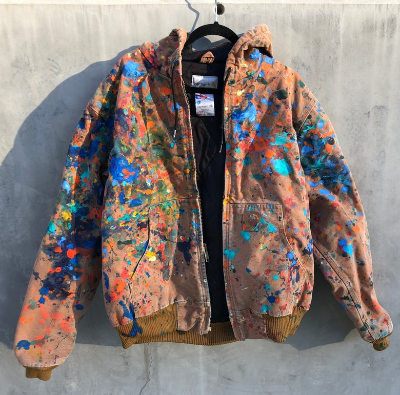 Image of Large Brown Carhartt jacket painted