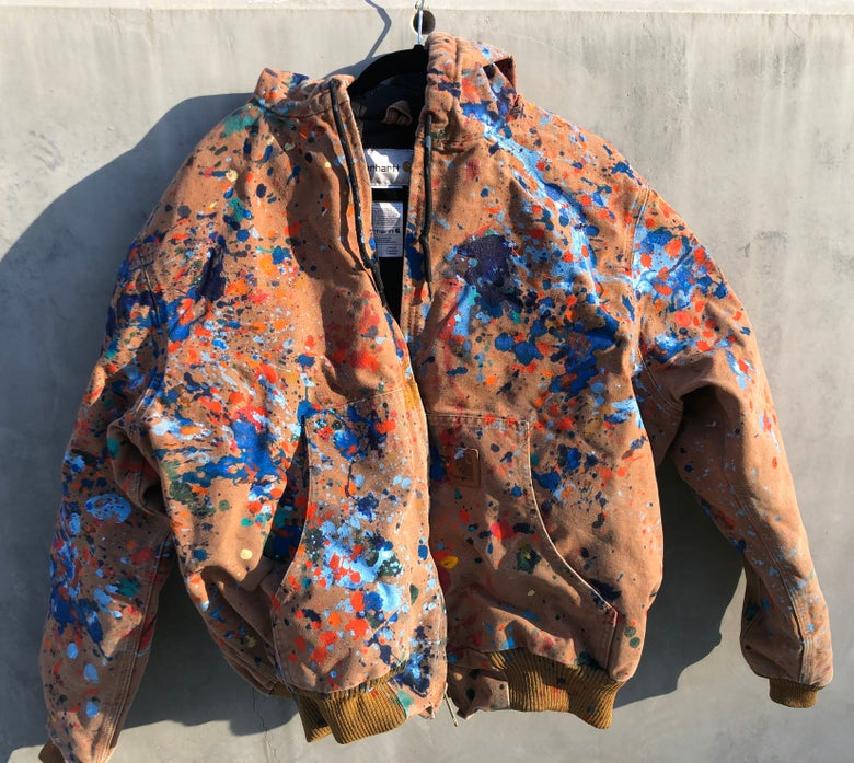 Image of Large Painted brown Carhartt jacket with hood