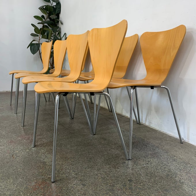 Image of SET OF EIGHT DINING CHAIRS