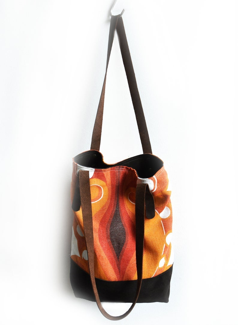 Image of Orang Canvas with Brown Suede 70s Hippie Boho Tote Bag