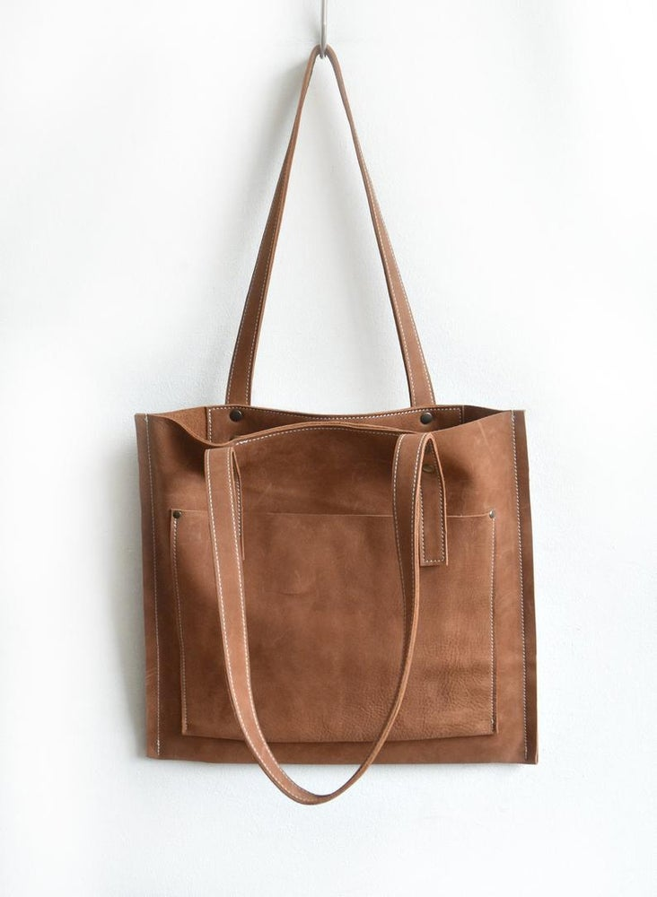 Image of Cognac Colored Leather Tote Bag, Brown Flat Constructed Bag
