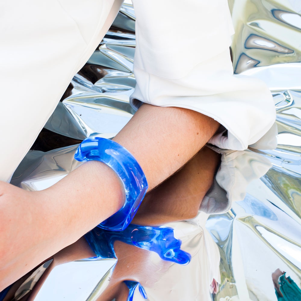 Image of LIGHT BLUE PLEXIGLAS BANGLE