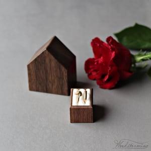 Image of Wedding ring box for ceremony, house ring bearer box, wedding ring holder