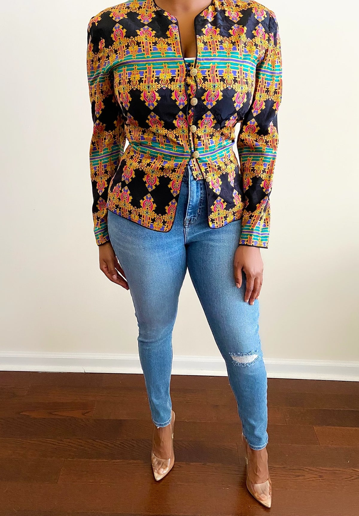 Image of Reconstructed Vibrant Print Fitted Blazer - S/M