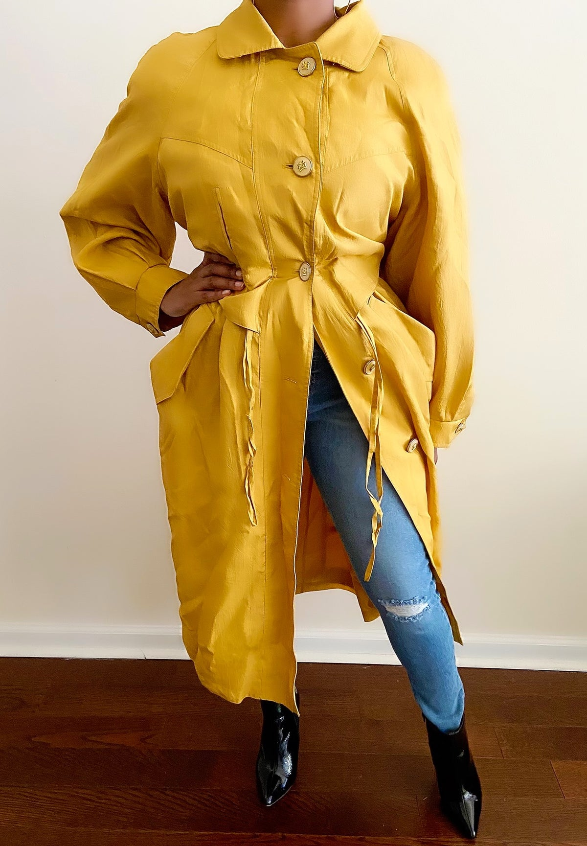 Image of Vintage Bold Mustard Trench - L