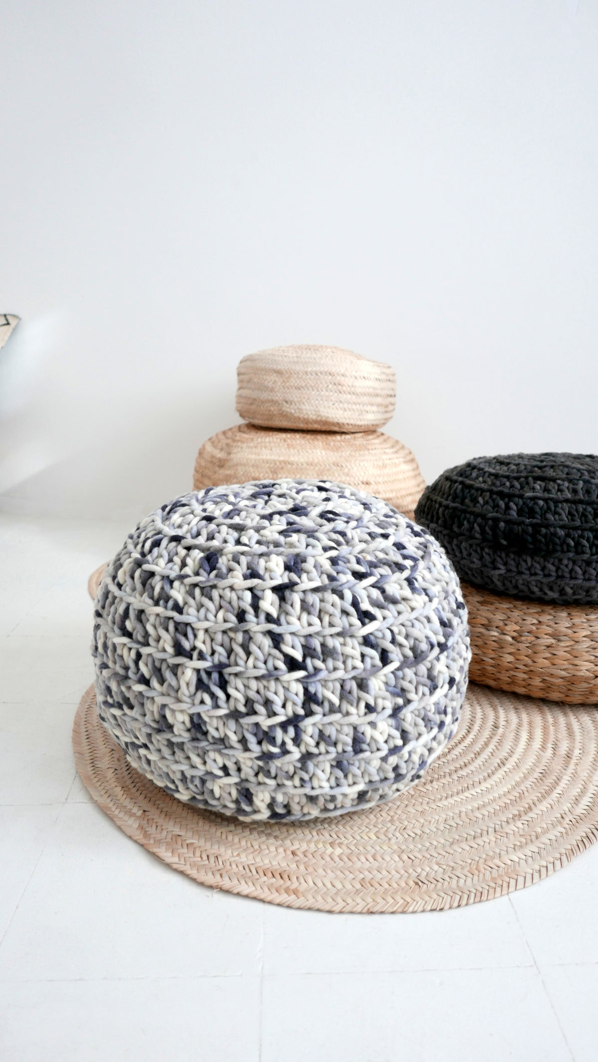 Image of Big Crochet Floor Cushion thick wool - Gray and White