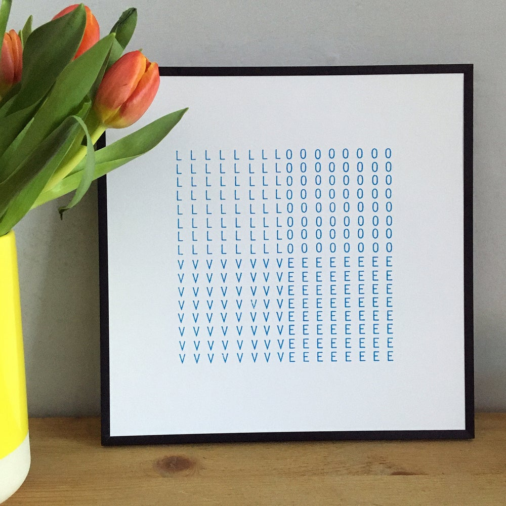 Image of LOVE typewriter art screenprint on paper - unframed
