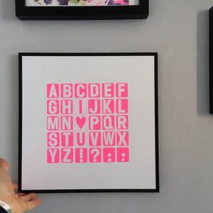 Image of I Heart U Alphabet screenprint on paper - unframed