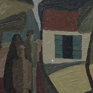 Image of 1950's Swedish Painting, 'Blue Shutters,' ALF LINDBOM