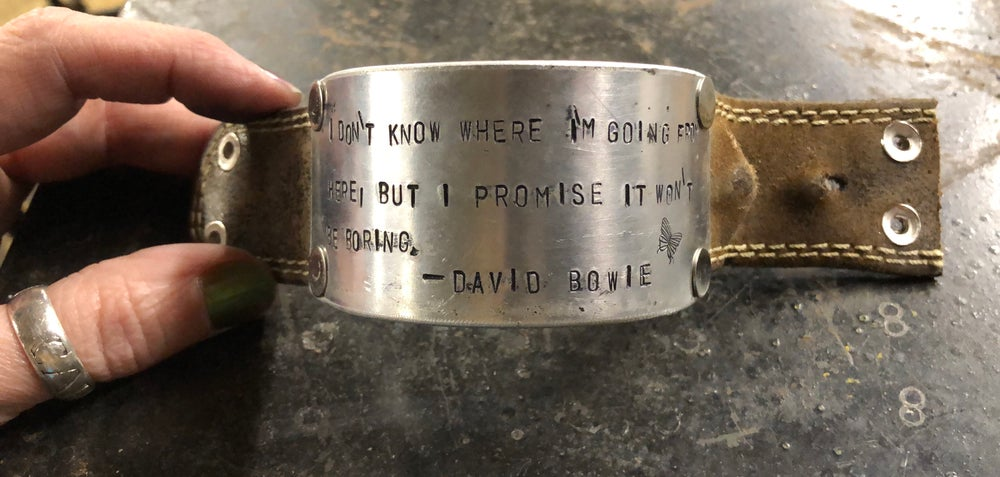 Bowie quote Upcycled leather hand-stamped cuff