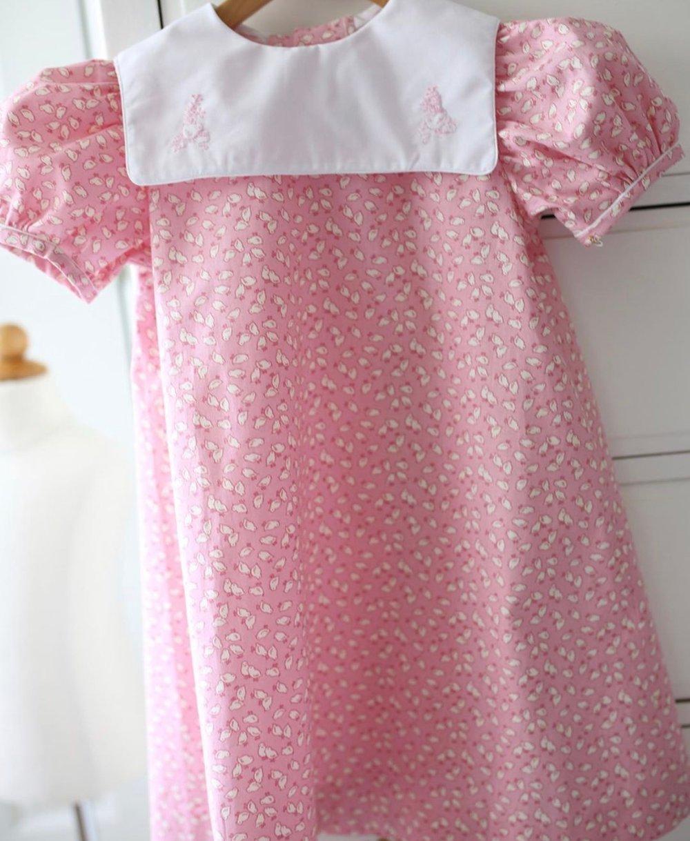 Image of Nana Mae Chick Print Collar Dress