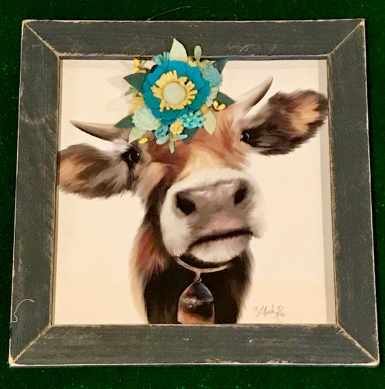 Image of Small Bull with Teal and Mustard Felt Flowers in a Tobacco Lath Frame