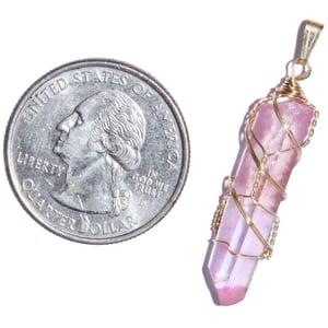 Image of Pink Sugar Aura Quartz 14k Gold Filled Pendant