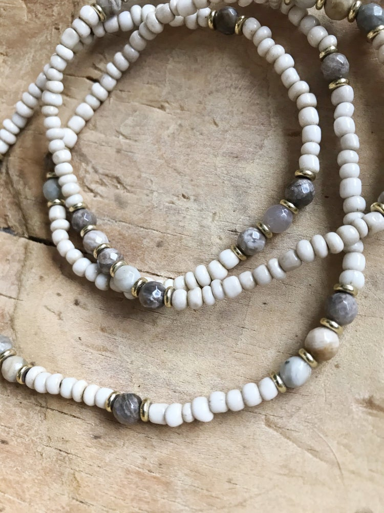 Image of Love Bead Layering Necklace - Soft Cream Beads, Gemstones #104