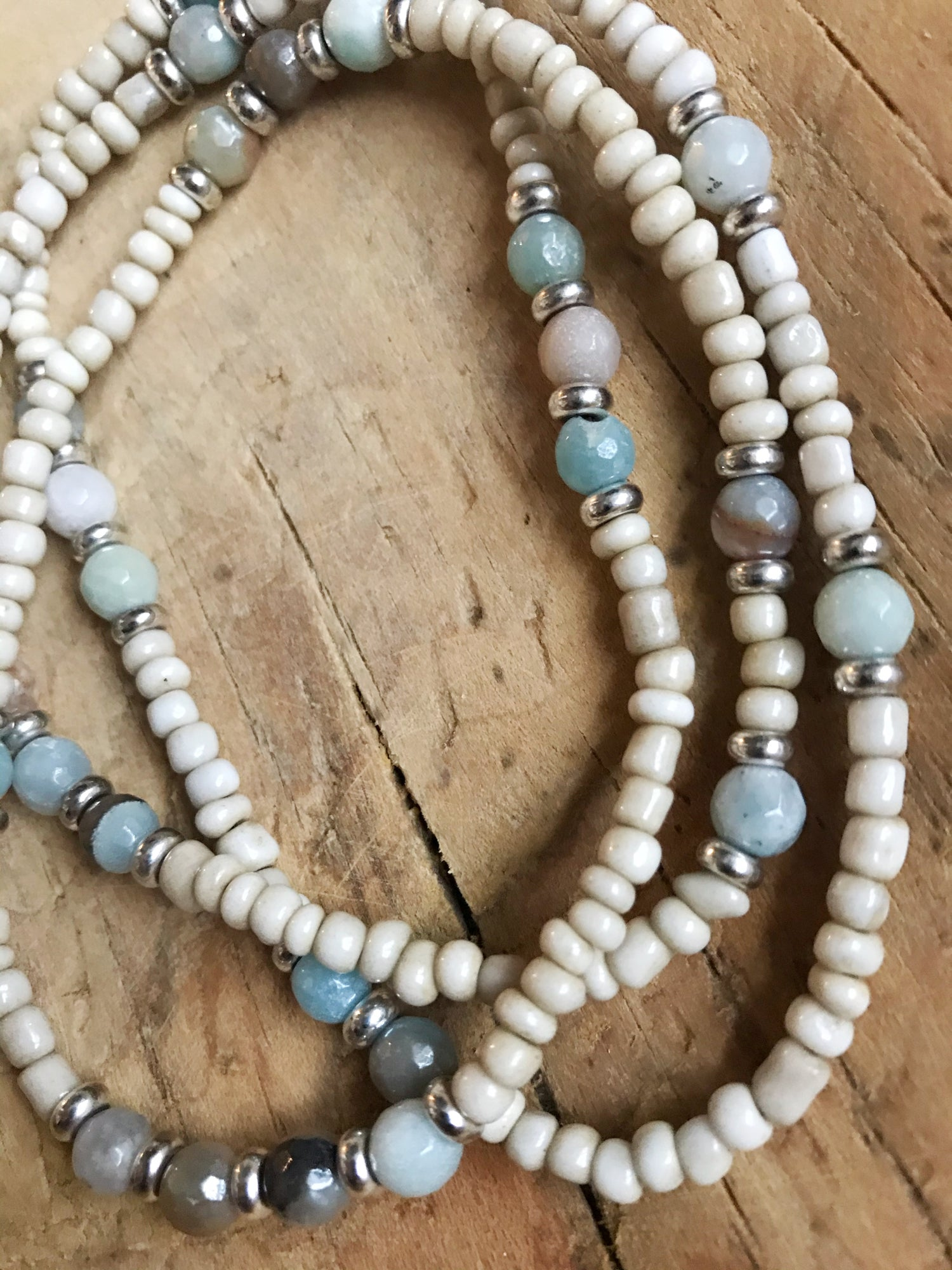 Image of Love Bead Layering Necklace- Soft Cream Beads, Gemstones #105