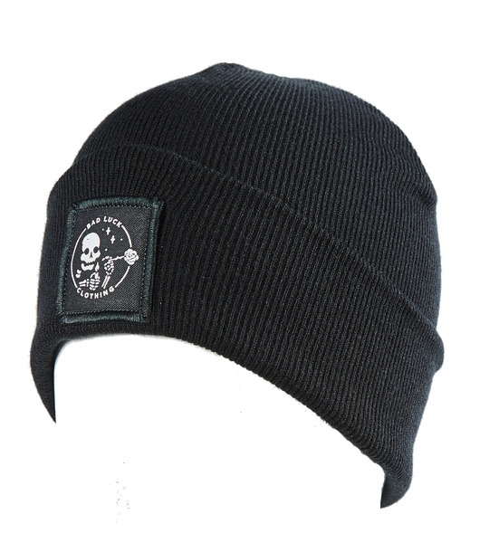 Image of Black Patched Beanie