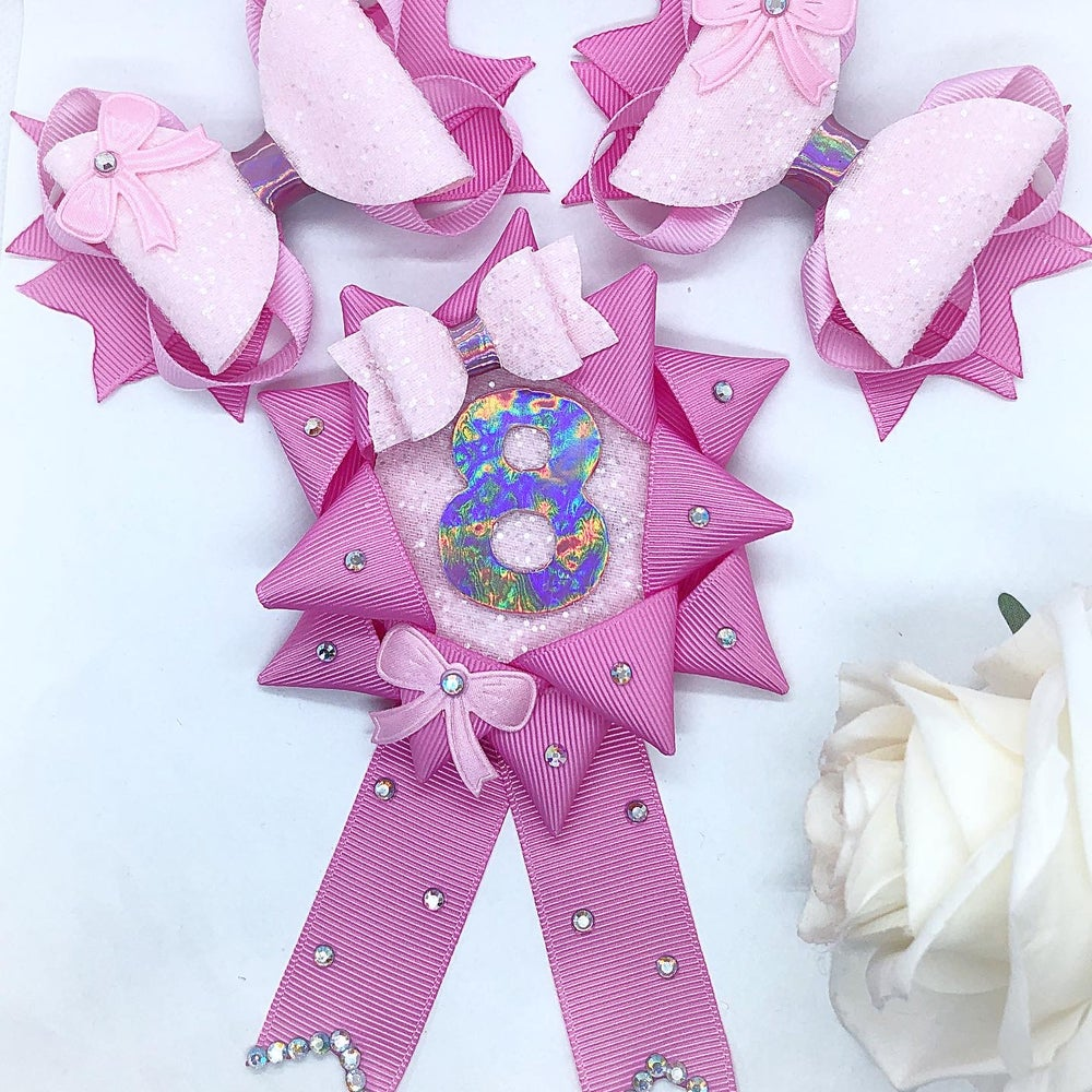 Image of Birthday set, 2 bows and matching Rosette