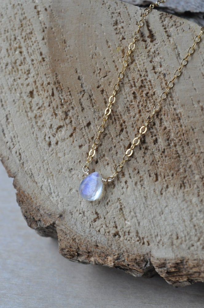 Image of Tiny Moonstone Teardrop Necklace