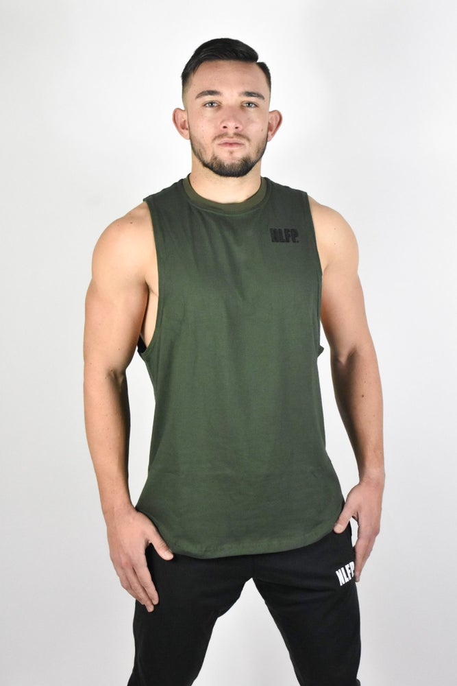 Image of STRIPE MUSCLE TANK TOP OLIVE GREEN