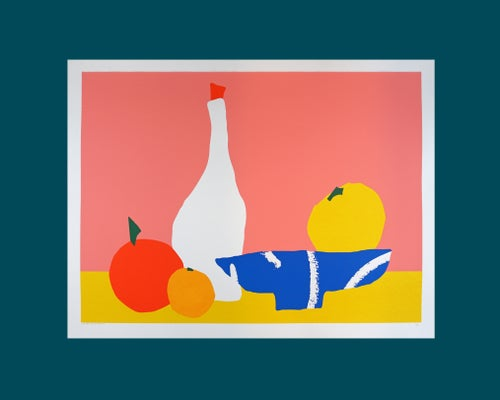Image of Screen print of a still life with a fruit bowl