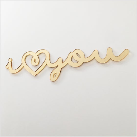 Image of 'iloveyou' Gold Mirror Sign