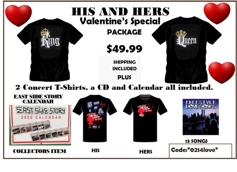 Image of HIS AND HERS - 4 T-SHIRTS, ONE CD AND CALENDAR  VALENTINE'S SPECIAL