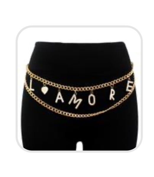 Image of L' Amore chain belt with rhinestones