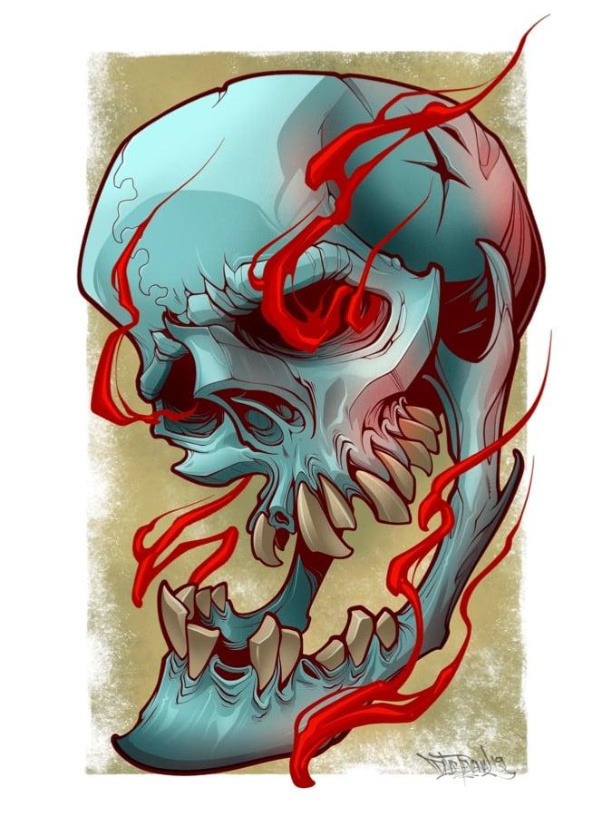 Image of 5x7 Skull Print